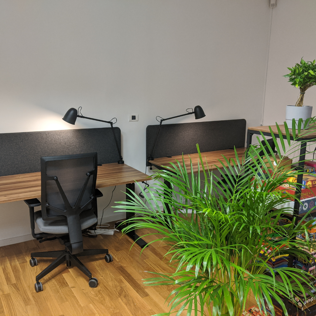 Two additional desks and a plant named `Fred's brother`